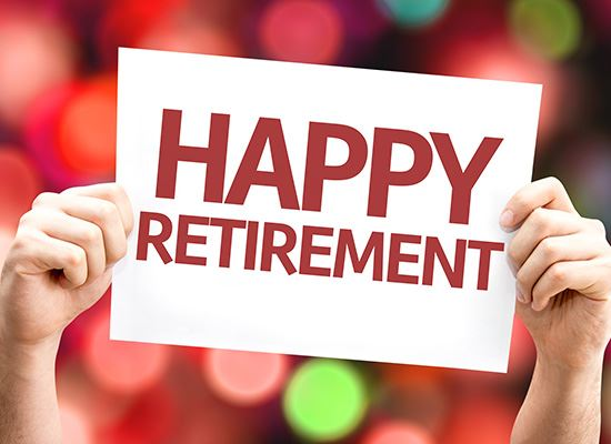 Happy retirement sign with balloons