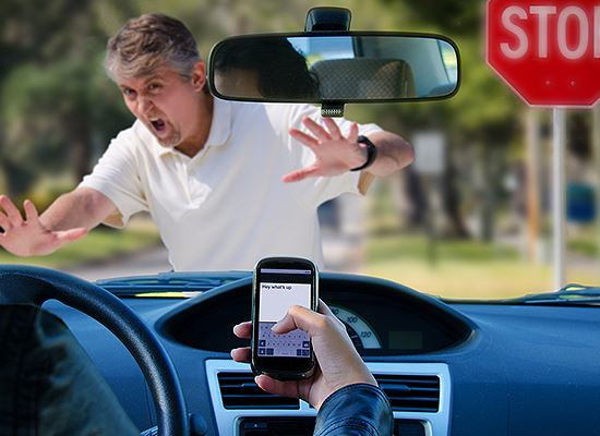 Distracted driver and pedestrian