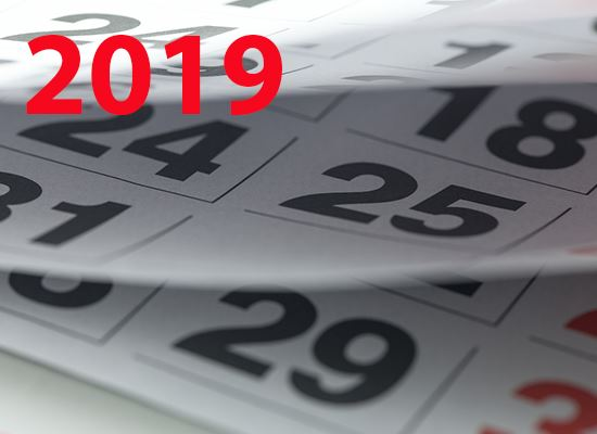 Holiday and payday calendar 2019