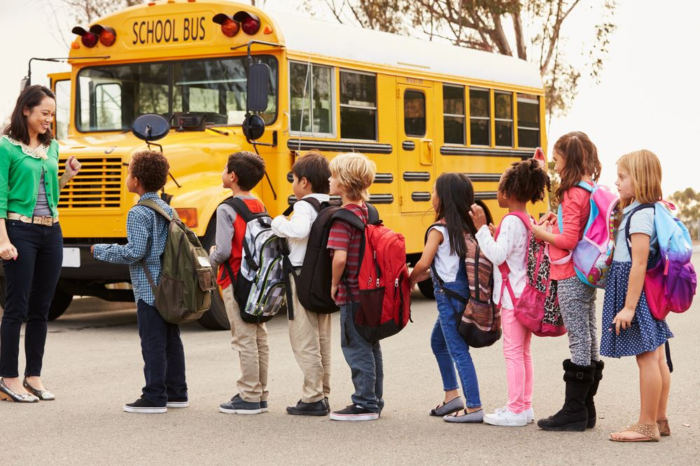 Back to school bus and kids