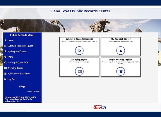 Open Records screen image