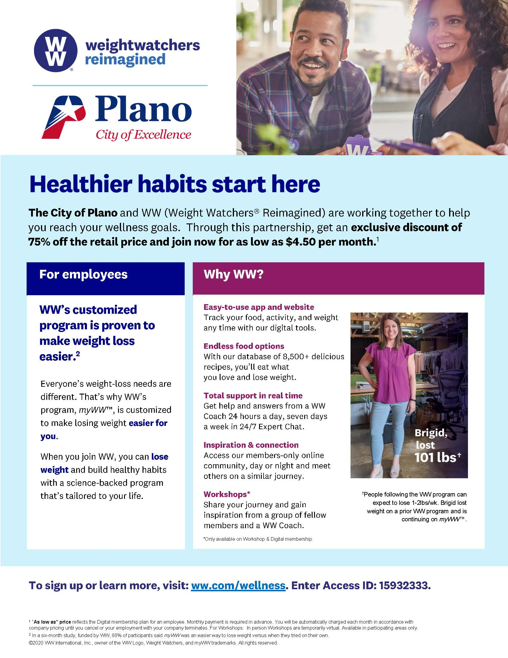 Weight Watchers Partnership with Plano