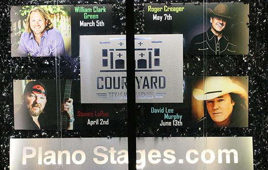 The Municipal Center display case show photos and dates for the four Courtyard Texas Music Series pe