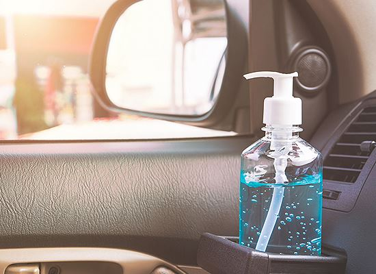 Hand sanitize bottle in car