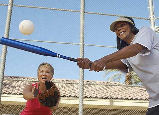 Softball with mixed races of women