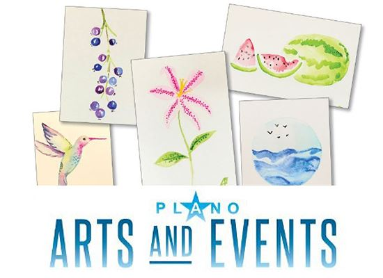 Plano Arts and Events watercolors and logo