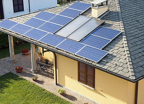 Solar paneled house roof
