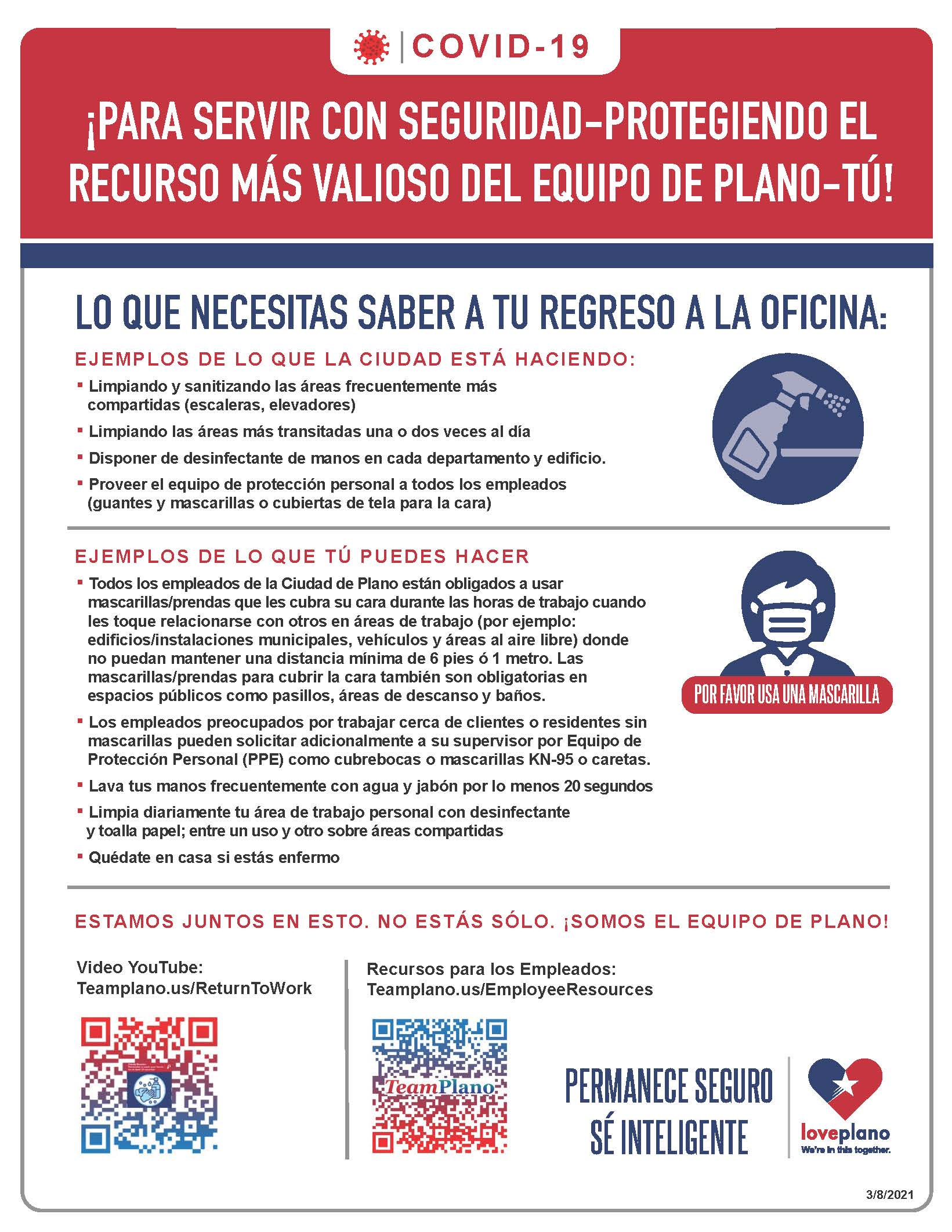return to work flyer with text - Spanish