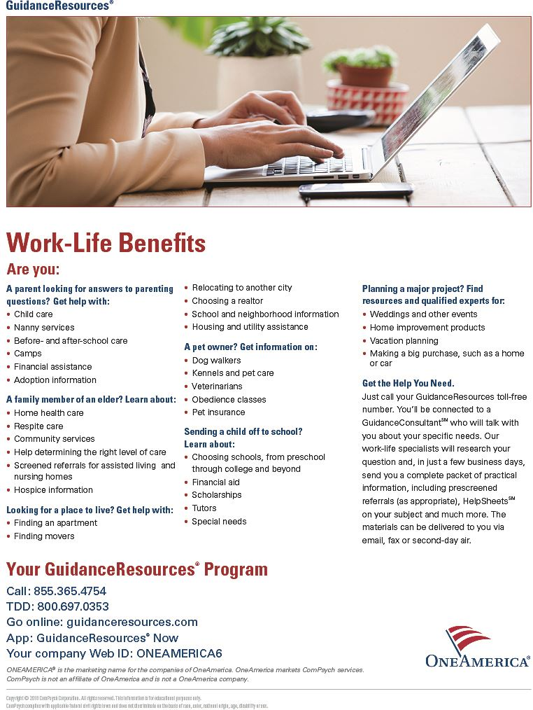 EAP WorkLife benefits flyer 2021
